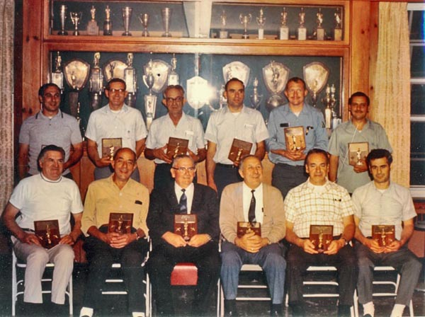 Mount Kisco Fire Department Mutual Engine Company 50 year members. Frank Fox is seated in first row 3rd from left. On March 7, 1975 Frank was the first member of MKFD to reach 50 years of service.