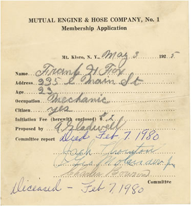 Frank Fox's Membership Application to the Mt. Kisco Fire Department